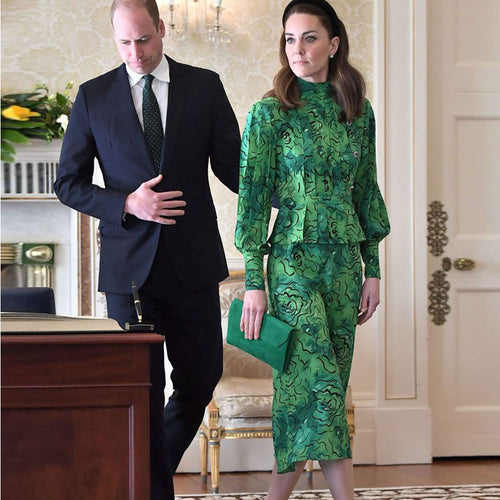Kate Middleton Vintage Ruffled Slim Midi Dress