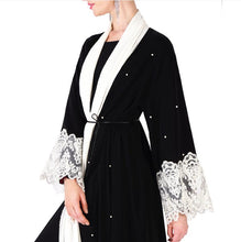 Load image into Gallery viewer, Arisya Pearl Beaded Dutch Lace Cardigan Abaya