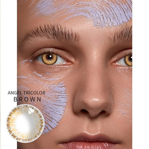 2pcs/pair Angel Tricolor Ring Series Prescription Colored Contact Lenses for Dark Eyes