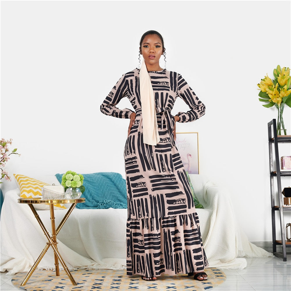Latoya Stripy Unique Nude Modest Dress