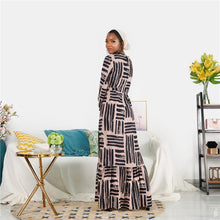 Load image into Gallery viewer, Latoya Stripy Unique Nude Modest Dress