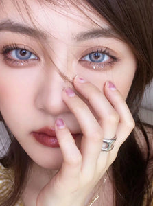 Pola Series Blue Violet Rings Prescription Yearly Contact Lenses for Dark Eyes Prescription