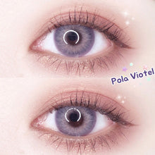 Load image into Gallery viewer, Pola Series Blue Violet Rings Prescription Yearly Contact Lenses for Dark Eyes Prescription