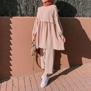 Two Pieces Cotton Blend Modest Pansuit