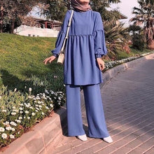 Load image into Gallery viewer, Two Pieces Cotton Blend Modest Pansuit