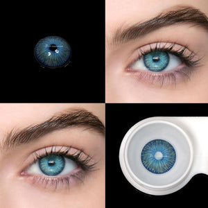 2pcs/pair Blue New York Series Small Pupil Colored Contact Lenses for Dark Eyes Prescription