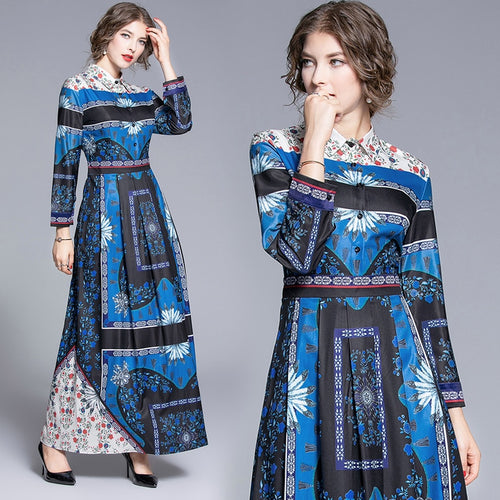 Runway Dress Blue Printed Long Dress