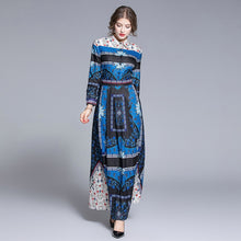 Load image into Gallery viewer, Runway Dress Blue Printed Long Dress