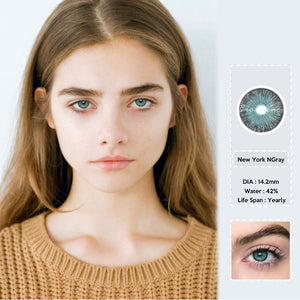 2pcs/pair NGray New York Series Small Pupil Colored Contact Lenses for Dark Eyes Prescription