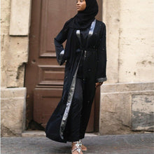 Load image into Gallery viewer, Silveriea Silver Panel Beaded Abaya