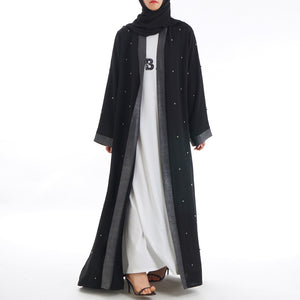 Silveriea Silver Panel Beaded Abaya