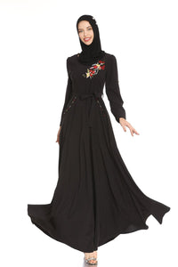Jenny Pocketed Floral Applique Modest Dress
