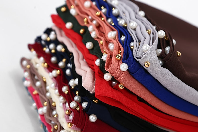 20 pc/lot All Colors Bubble Chiffon Gold & Pearl Beads 180*75cm