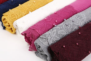 10pc/lot French Lace Pearl Beaded Wide Shawls