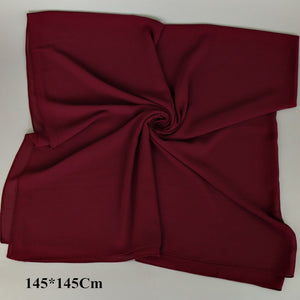 145*145Cm Plain Oversized Square Bubble Chiffon Hijab