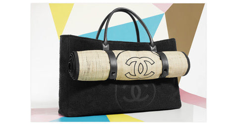 091a40be85c2 ... New CHANEL Brown Beach Tote Bag with Straw Mat Towel CC logo Limited  Edition ...