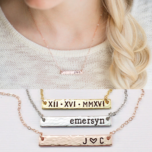 personalized name bar necklace mom necklace rose gold bar necklace