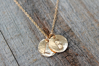 Mom Necklace - Children's Initial Necklace - Gold Disc Initial Necklace - Push Present - Mommy Jewelry - Kids Name Disc Necklace - Grandma