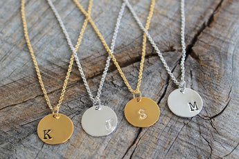 Dainty Gold Initial Necklace - Delicate Hand Stamped Disk Necklace - Dainty Custom Tag on 14K Gold Filled Chain - Sterling Silver