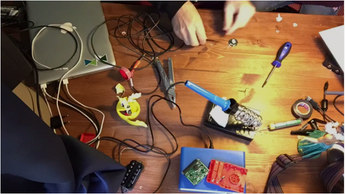 Hacking a toy, creating a microphone this past weekend.