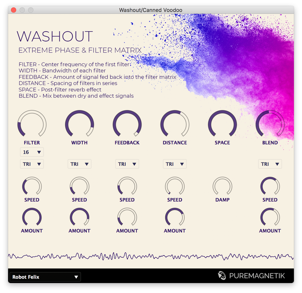 Washout Filter Phaser Effect Plugin for Ableton Live, Cubase and Logic