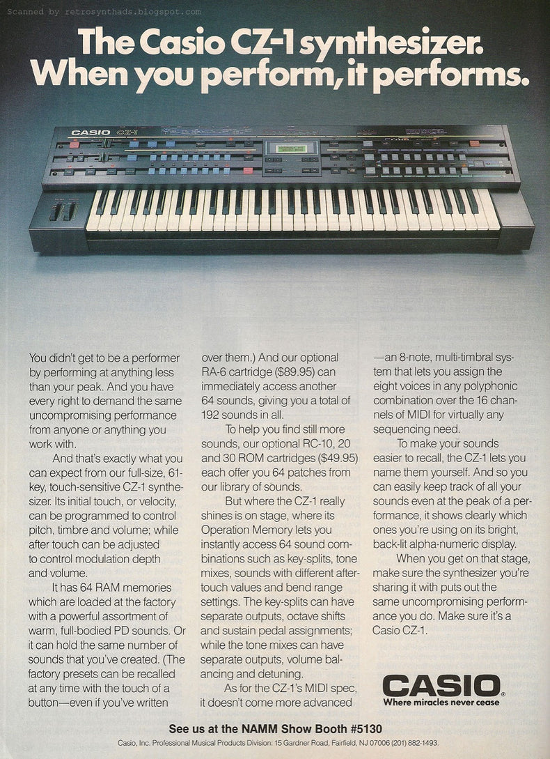 The original Casio CZ-1 was multi-sampled and programmed as an Ableton Live Pack and Kontakt Instrument