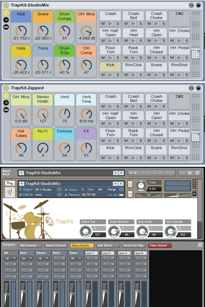 The Ableton Live and Kontakt Drum Kit interfaces