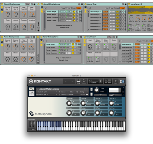 The Metalsphere Ableton Live Pack and Kontakt Interface.