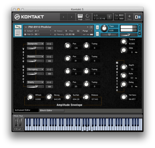 The PM-8910 UI for the Kontakt Instrument. Included in Retro Computers