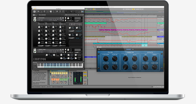 Screenshots of the Digitar Ableton Live Pack, Kontakt Instrument and Logic Samples
