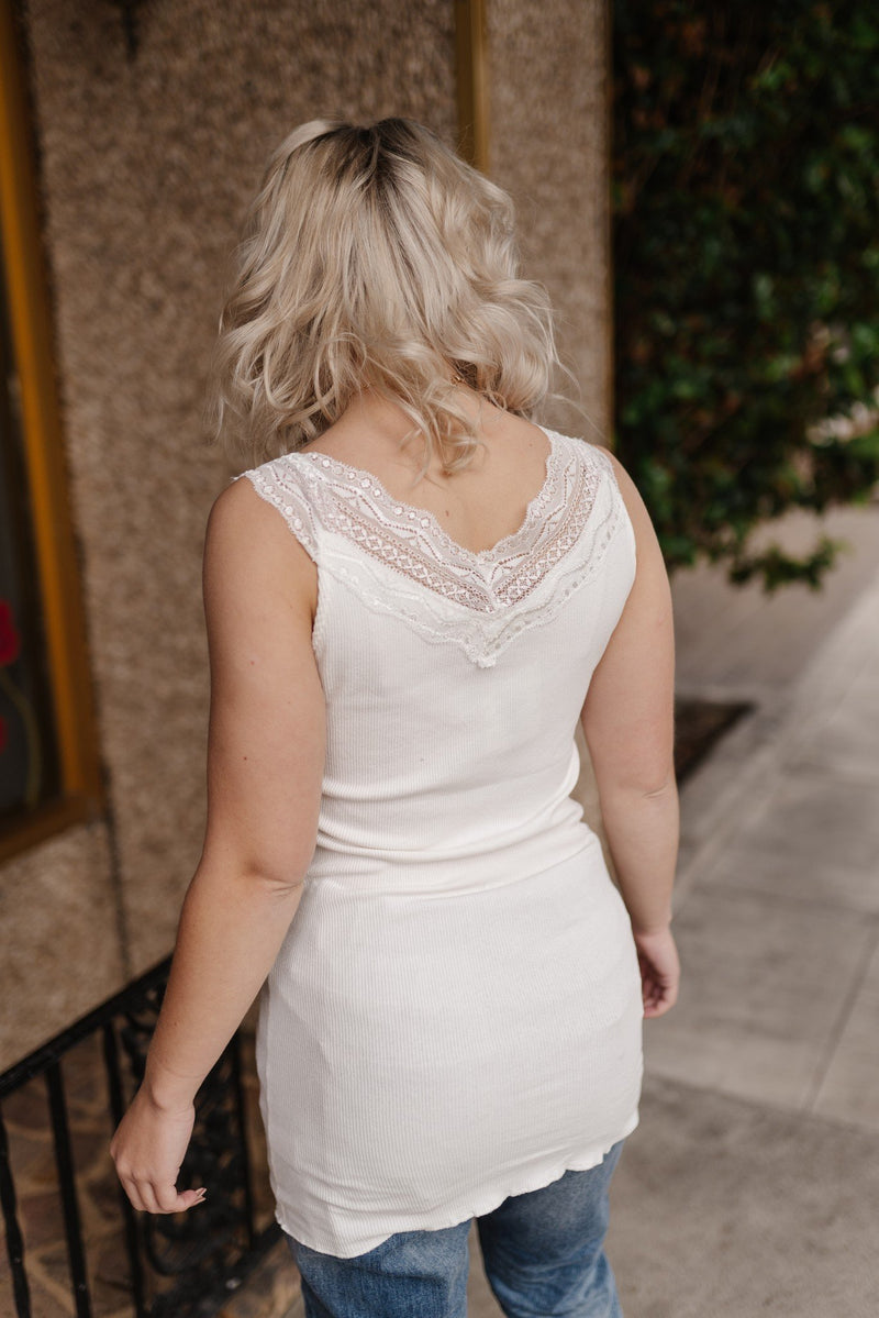 Simply Lace Ivory Sleeveless Top