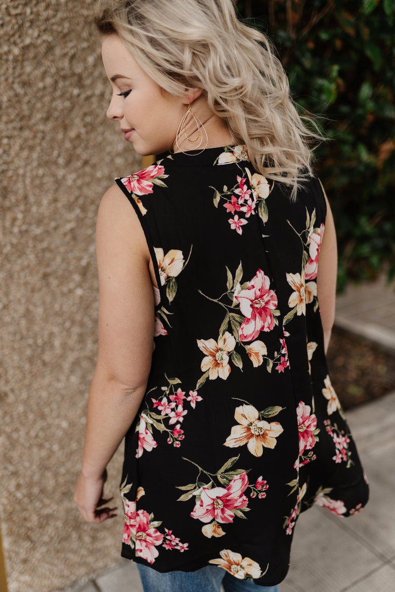 Midnight Tropics Floral Sleeveless Top