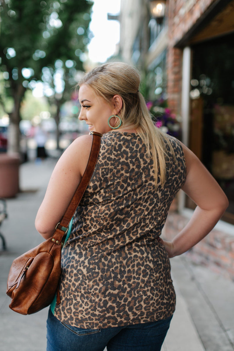 Leopard In Jade Sleeveless Top