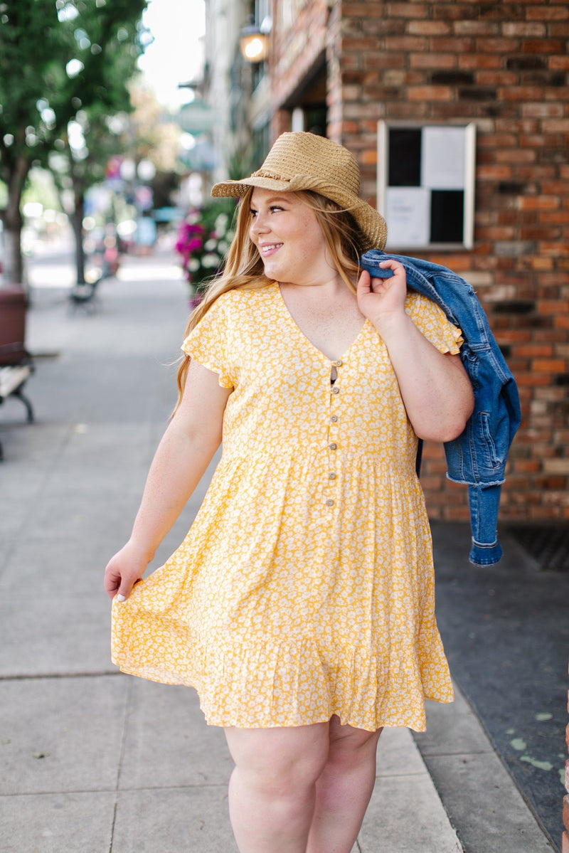 Sunny Days Yellow Floral Fluttery Tiered Dress