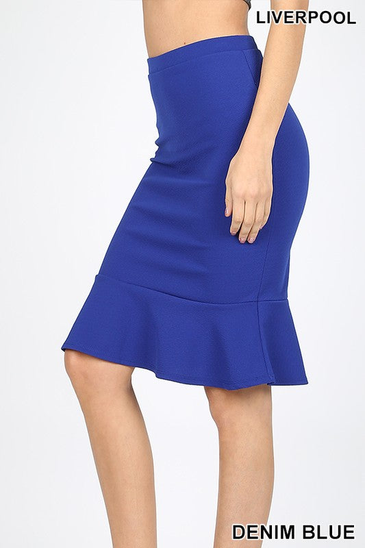 LIVERPOOL KNEE LENGTH PEPLUM HEM SKIRT