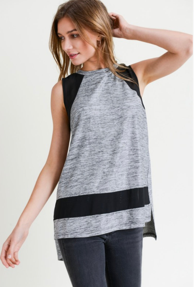 SPACE DYE METALLIC TANK W/ SHEER INSERT