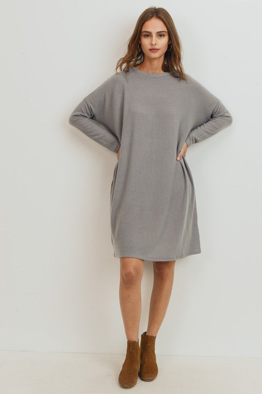 Brushed Knit Piko Style Pocket Dress *More Colors*