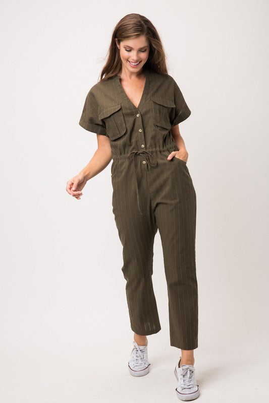 Stripe Safari Style Jumpsuit