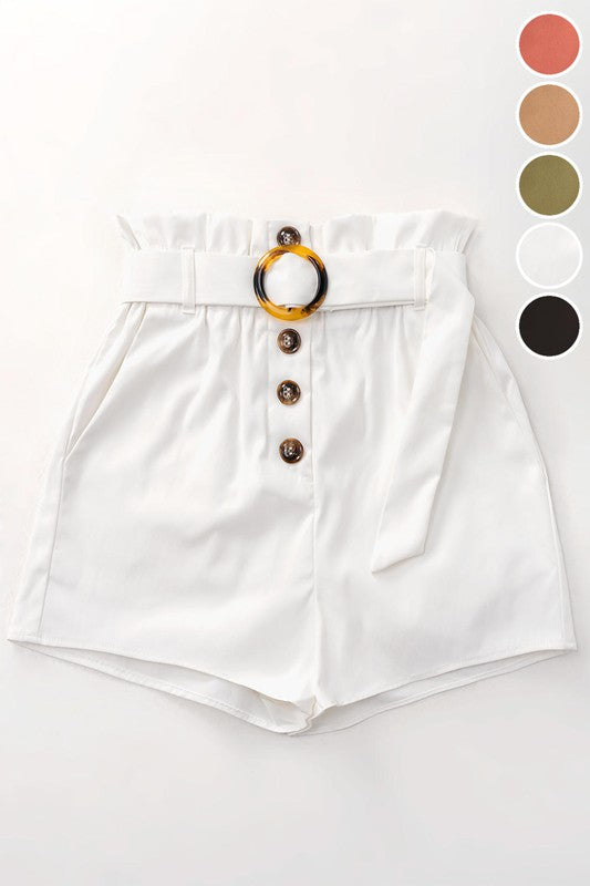 White High Waist Belted Shorts