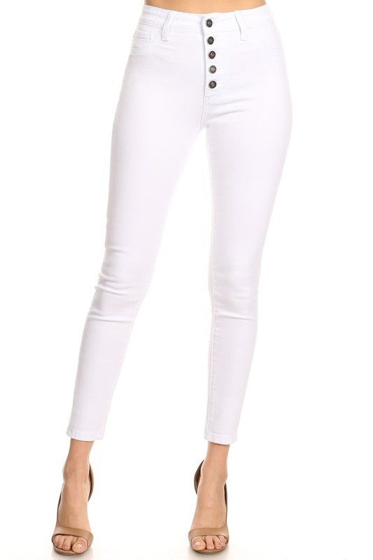 White High Rise Skinny Jeans