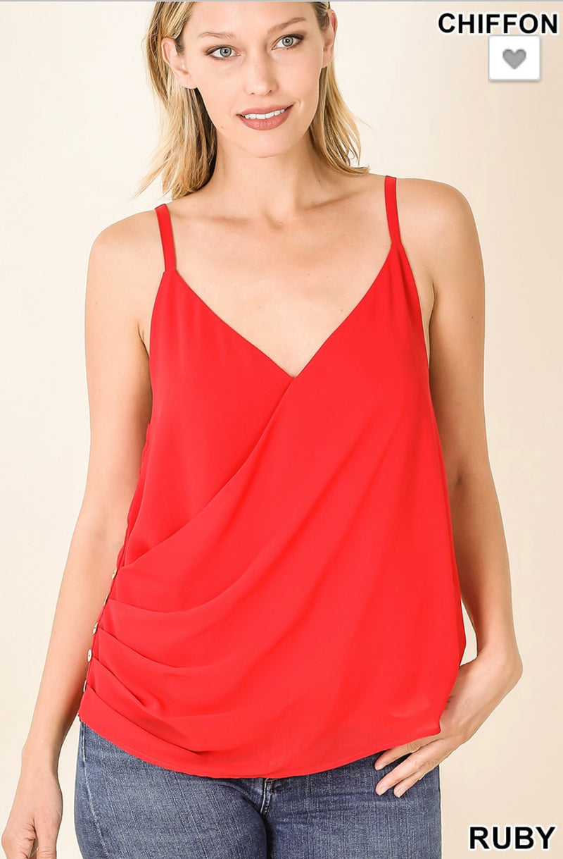 RUBY RED DOUBLE LAYER SPAGHETTI STRAP TOP