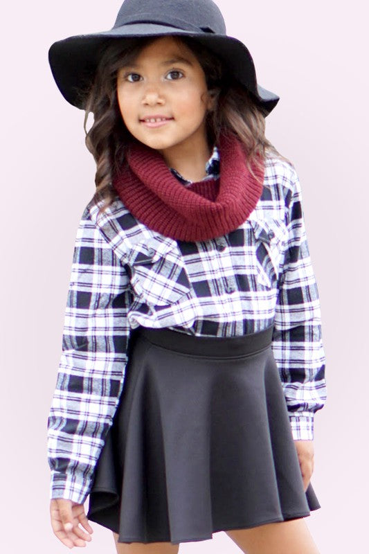 *Girls* Black Plaid Flannel Shirt