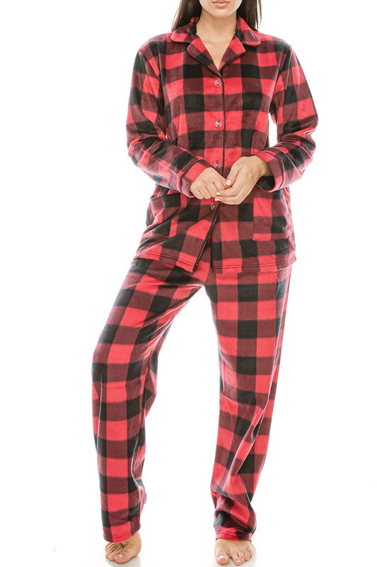 Fleece Buffalo Plaid Pajama Set