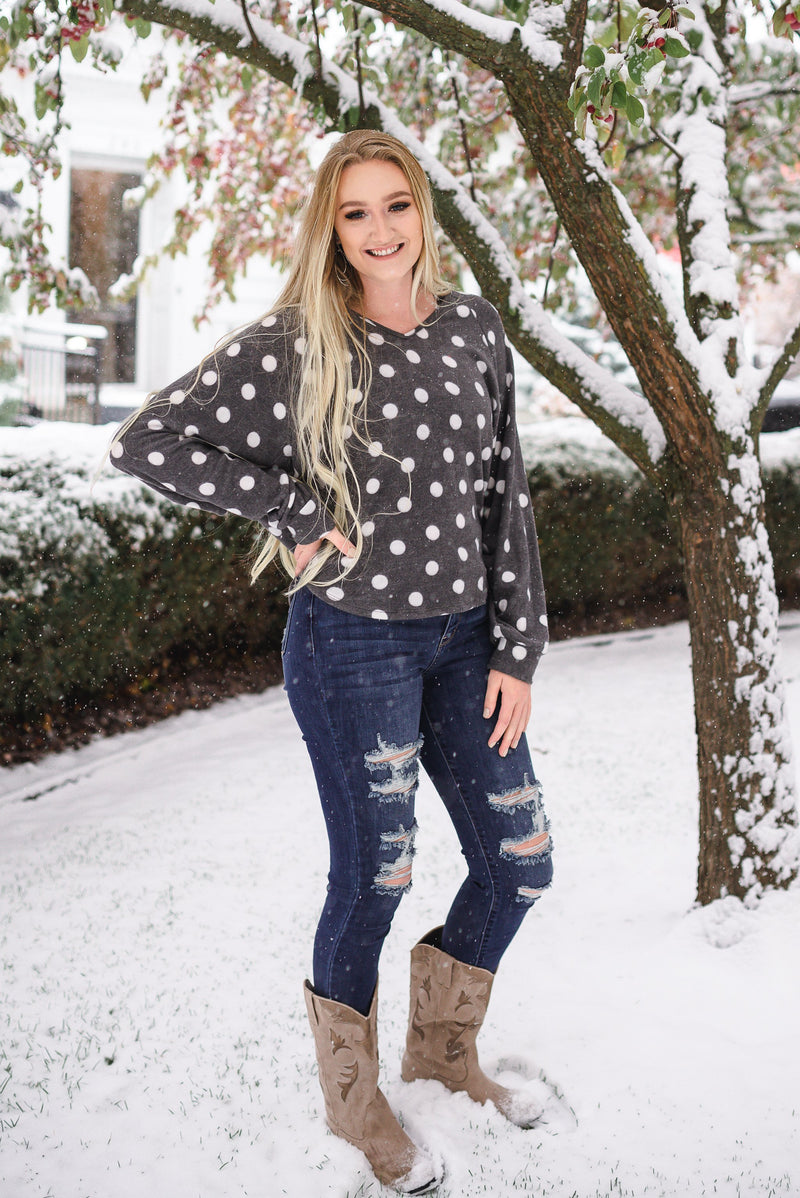 Positively Glacial Polka Dot Fleece Top