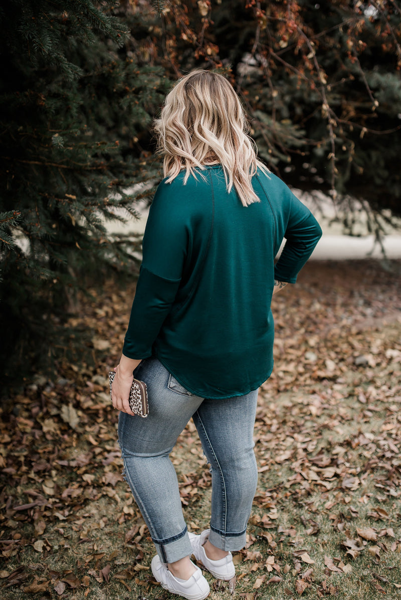 Teal The Show Fleece Lined Top