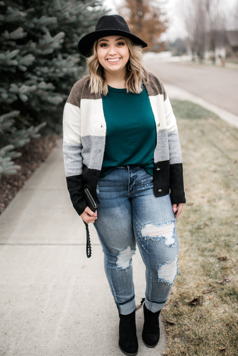 Simply The Best Color Block Button Up Sweater