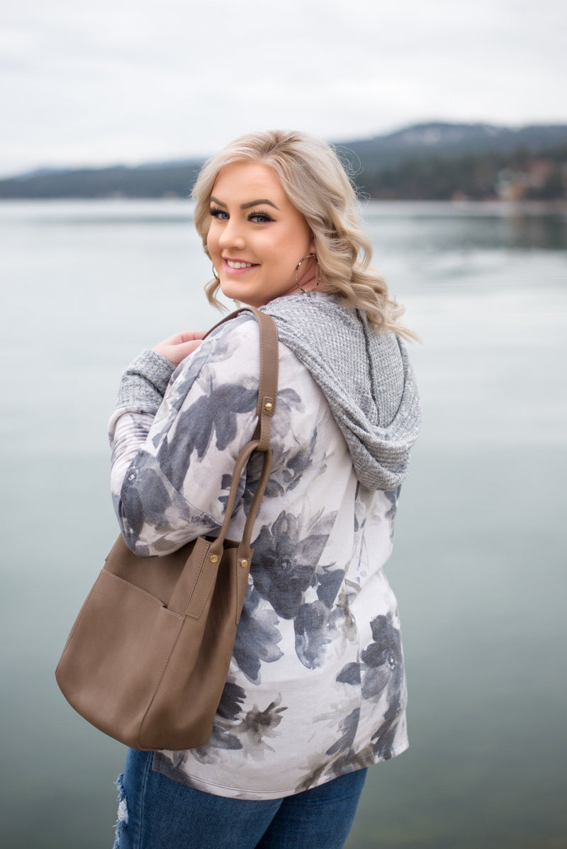 Knit To Self Ivory and Gray Floral Hooded Top