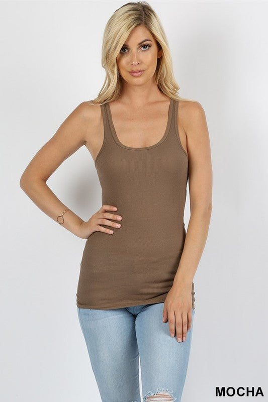 Zenana Stretchy Cotton Ribbed Tank