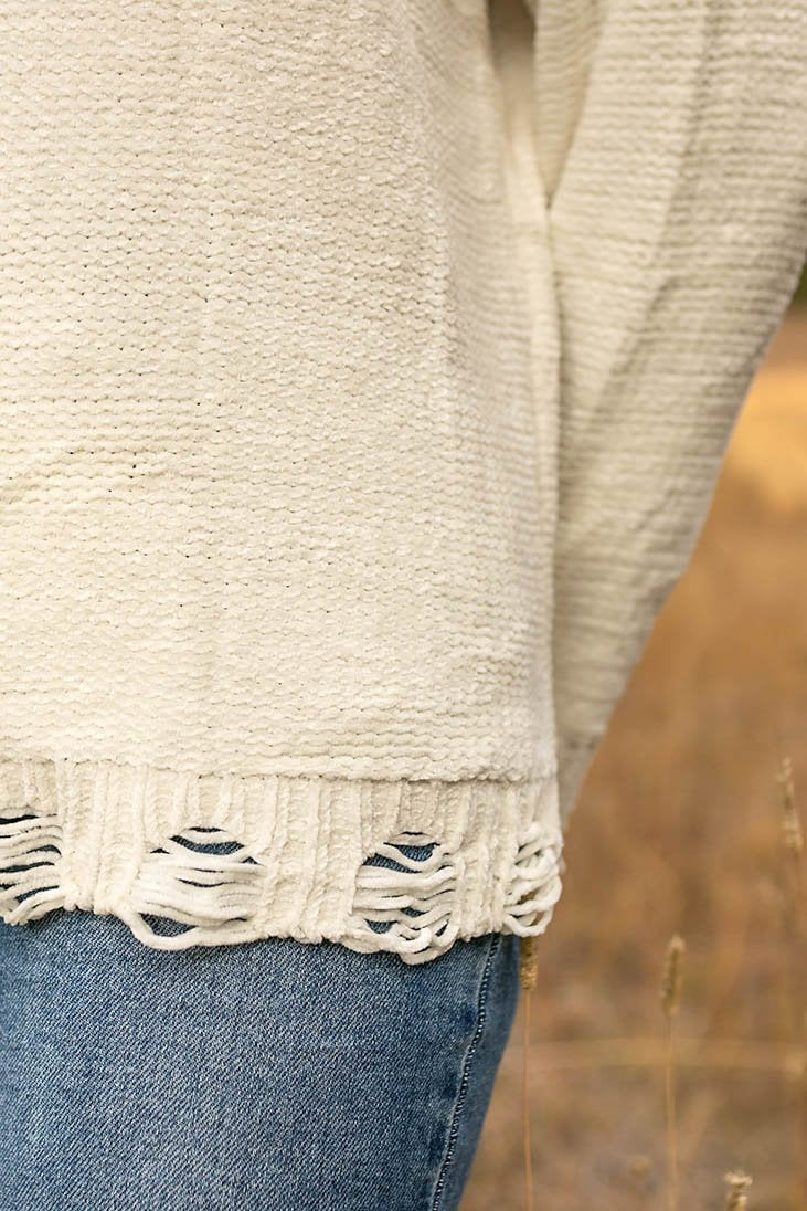 You Had Me At Chenille Distressed Sweater
