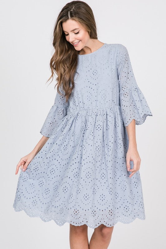 3/4 Sleeve Grey Dress